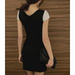 Elegant Jewel Neck Short Sleeve Hollow Out Color Block Dress For Women deal