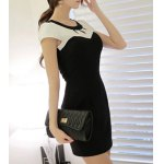 cheap Elegant Jewel Neck Short Sleeve Hollow Out Color Block Dress For Women