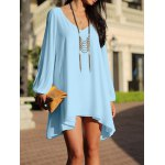 cheap Stylish V-Neck 3/4 Sleeve Hollow Out Chiffon Dress For Women