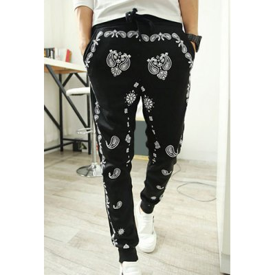 Casual Style Lace-Up Slimming Ethnic Print Elastic Cuffs Narrow Feet Men's Cotton Blend Harem Pants