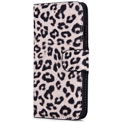 Artificial Leather and Plastic Material Leopard Print Design Cover Case with Card Holder and Stand for iPhone 6