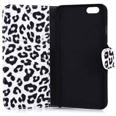 Фотография Artificial Leather and Plastic Material Leopard Print Design Cover Case with Card Holder and Stand for iPhone 6