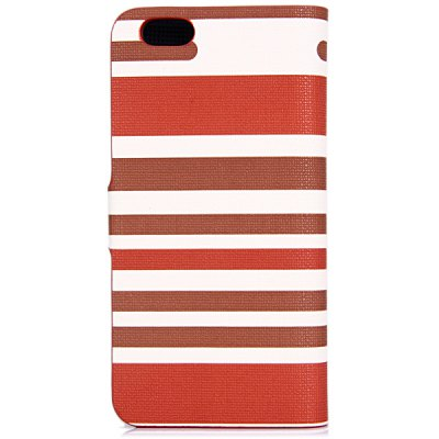 ФОТО Artificial Leather and Plastic Material Three Colors Stripe Cover Case with Card Holder and Stand for iPhone 6