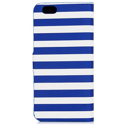 ФОТО Artificial Leather and Plastic Material Dual Color Stripe Cover Case with Card Holder and Stand for iPhone 6
