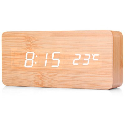 Bamboo White Numeral Wooden Digital Alarm