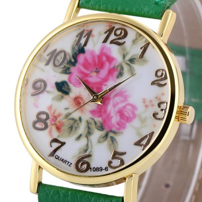 Гаджет   Womage 1089 - 6 Leather Watch Band Female Quartz Watch Time Showed by Arabic Numerals and Round Dial Women