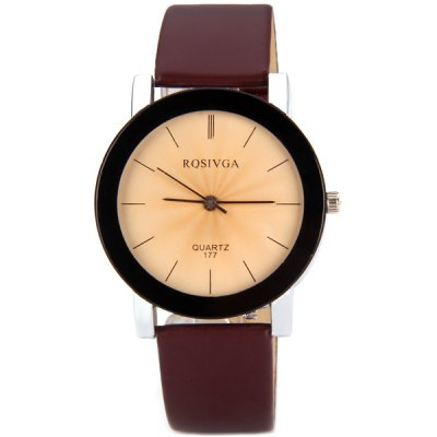 Rosivga 177 Delicate Leather Band Women Quartz Watch with Stripes Display Round DialWomens Watches<br>Rosivga 177 Delicate Leather Band Women Quartz Watch with Stripes Display Round Dial<br><br>Brand: Rosivga<br>Watches categories: Female table<br>Available color: White, Red, Brown<br>Style : Fashion&amp;Casual<br>Movement type: Quartz watch<br>Shape of the dial: Round<br>Display type: Pointer<br>Case material: Stainless steel<br>Case color: Black<br>Band material: Leather<br>Clasp type: Pin buckle<br>Special features: Three needles<br>The dial thickness: 0.9 cm / 0.4 inch<br>The dial diameter: 4.0 cm / 1.6 inch<br>The band width: 1.8 cm / 0.7 inch<br>Product weight: 36 g<br>Product size (L x W x H) : 24.0 x 4.0 x 0.9 cm / 9.4 x 1.5 x 0.4 inches<br>Package contents: 1 x Watch