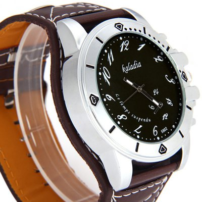 Гаджет   Kaladia 5902 Male Quartz Watch Time Showed by Arabic Numerals Round Dial and Leather Watch Band Men