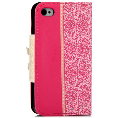 ФОТО Artificial Leather and Plastic Material Bowknot and Retro Flower Design Cover Case with Card Holder and Stand for iPhone 4 4S