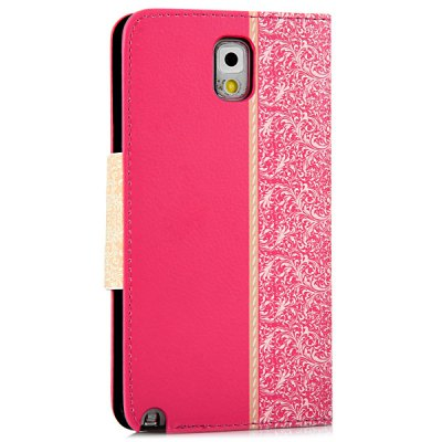ФОТО Artificial Leather and Plastic Material Bowknot and Retro Flower Design Cover Case with Card Holder and Stand for Samsung Galaxy Note 3 N9000