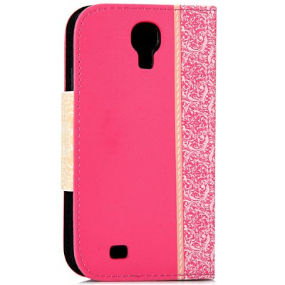 ФОТО Artificial Leather and Plastic Material Bowknot and Retro Flower Design Cover Case with Card Holder and Stand for Samsung Galaxy S4 I9500 I9505