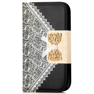Artificial Leather and Plastic Material Bowknot and Retro Flower Design Cover Case with Card Holder and Stand for Samsung Galaxy S4 I9500 I9505