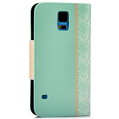 ФОТО Artificial Leather and Plastic Material Bowknot and Retro Flower Design Cover Case with Card Holder and Stand for Samsung Galaxy S5 I9600 SM - G900