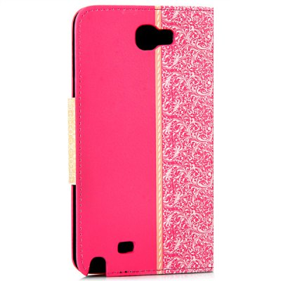 ФОТО Artificial Leather and Plastic Material Bowknot and Retro Flower Design Cover Case with Card Holder and Stand for Samsung Galaxy Note 2 N7100