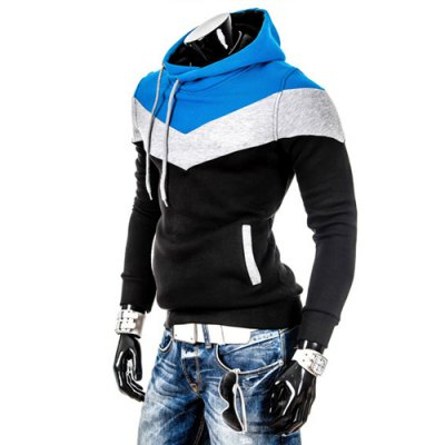Slimming Trendy Hooded Personality Color Splicing Long Sleeves Mens Thicken HoodiesMens Hoodies &amp; Sweatshirts<br>Slimming Trendy Hooded Personality Color Splicing Long Sleeves Mens Thicken Hoodies<br><br>Material: Cashmere,Cotton<br>Clothing Length: Regular<br>Sleeve Length: Full<br>Style: Casual<br>Weight: 0.900KG<br>Package Contents: 1 x Hoodies