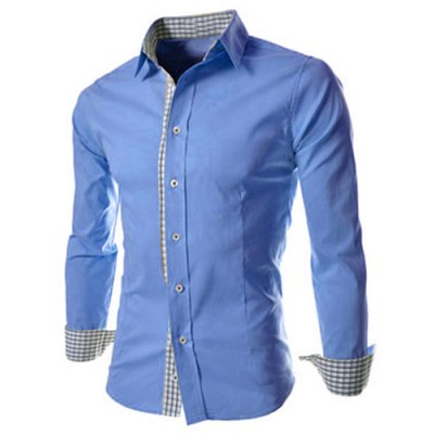 Slimming Trendy Turn-down Collar Checked Print Splicing Long Sleeves Men's Cotton Blend Shirt