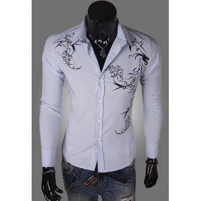 Personality Tattoo Long Sleeves Cotton Blend Floral Shirt For Men