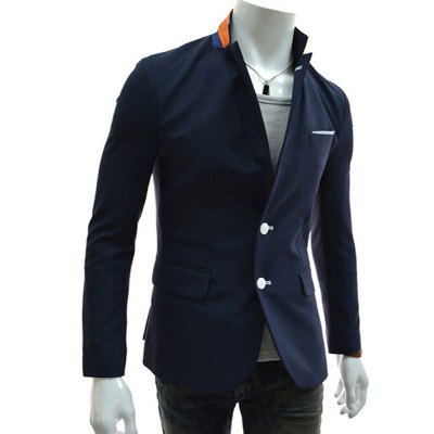 ФОТО Multi-Pocket Embellished Slimming Color Splicing Lapel Fashion Design Long Sleeves Men