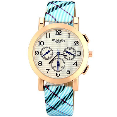 Womage 9620 Fashionable Leather Band Female Quartz Watch with Arabic Numerals Display Round Dial