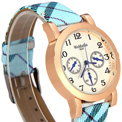 Фотография Womage 9620 Fashionable Leather Band Female Quartz Watch with Arabic Numerals Display Round Dial