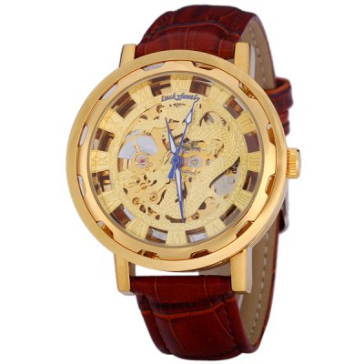 ФОТО Lucky Family Genuine Leather Watch Band Male Automatic Mechanical Watch with Dragon Pattern Round Dial