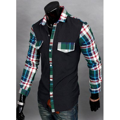 Casual Style Slimming Long Sleeves Turn-down Collar Plaid Print Splicing Mens Cotton Blend ShirtMens Shirts<br>Casual Style Slimming Long Sleeves Turn-down Collar Plaid Print Splicing Mens Cotton Blend Shirt<br><br>Shirts Type: Casual Shirts<br>Material: Cotton, Polyester<br>Sleeve Length: Full<br>Collar: Turn-down Collar<br>Weight: 0.333KG<br>Package Contents: 1 x Shirt