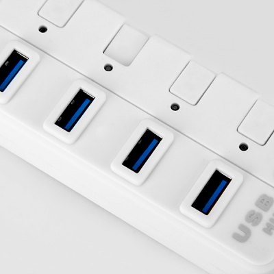 Фотография 5Gbps High Compatibility USB3.0 4 Ports Hub with Button Switch and LED Indicator for Camera Keyboard Projector Printer