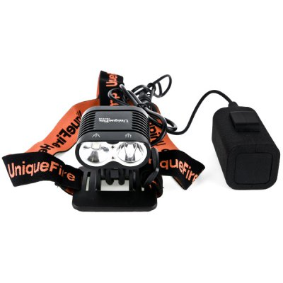 UniqueFire HD - 16 Cree XM - L L2 2400lm LED White Bicycle Headlight Flashlight 4 x 18650 with Head Strap Battery Charger