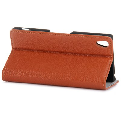 Фотография Genuine Leather Stand Case with Lichee Pattern and Card Holder for Sony Xperia Z3
