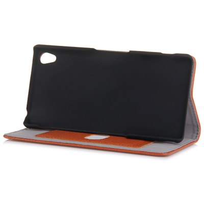Genuine Leather Stand Case with Lichee Pattern and Card Holder for Sony Xperia Z3