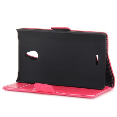 Гаджет   Fashionable Plastic and Oily Leather Stand Case with Card Holder for Nokia X2 Other Cases/Covers