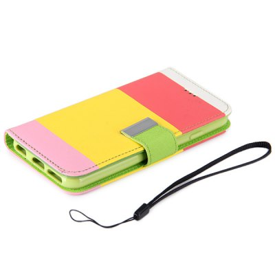 ФОТО Artificial Leather and Plastic Rainbow Color Pattern Cover Case with Card Holder and Stand for iPhone 6