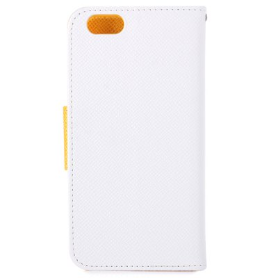 ФОТО Artificial Leather Contrast Color Lichee Pattern Cover Case with Holder Stand for iPhone 6
