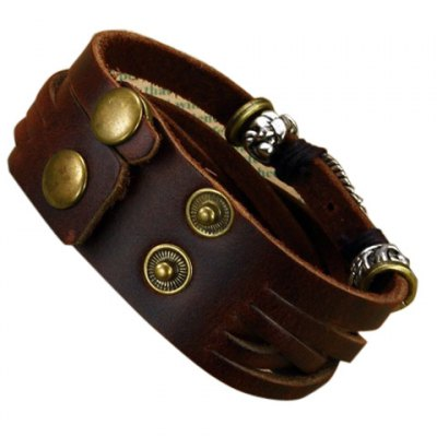 Chic Layered Leather Chain Bracelet For Men