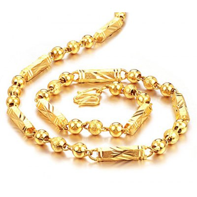 Beads Gold Link Necklace For Men