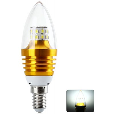 E14 5W SMD - 2835 x 25 LEDs 6000  -  6500K Candle Light (Gold Flame 480LM 85  -  265V)
