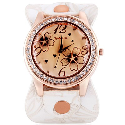 Womage 9965 - 3 Fashionable Leather Band Female Quartz Watch with Diamond Flower Round DialWomens Watches<br>Womage 9965 - 3 Fashionable Leather Band Female Quartz Watch with Diamond Flower Round Dial<br><br>Watches categories: Female table<br>Available color: White, Black, Purple, Blue, Red, Pink<br>Style : Fashion&amp;Casual<br>Movement type: Quartz watch<br>Shape of the dial: Round<br>Display type: Pointer<br>Case material: Stainless steel<br>Case color: Gold<br>Band material: Leather<br>Clasp type: Pin buckle<br>The dial thickness: 1.1 cm / 0.4 inch<br>The dial diameter: 4.0 cm / 1.6 inch<br>Product weight: 0.043 kg<br>Product size (L x W x H) : 24.0 x 4.5 x 1.1 cm / 9.4 x 1.8 x 0.4 inches<br>Package contents: 1 x Watch