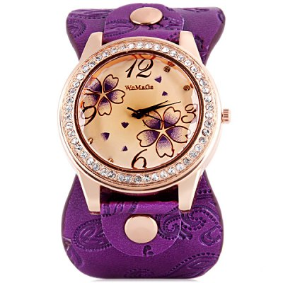Womage 9965 - 3 Fashionable Leather Band Female Quartz Watch with Diamond Flower Round Dial