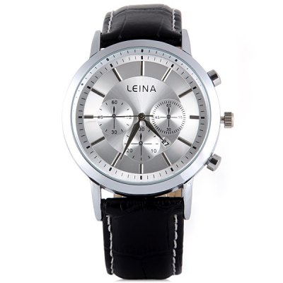 Гаджет   Leina 1497 Quartz Watch Stripes Display Decorative Small Three Stitches Round Dial and Calendar for Men Men