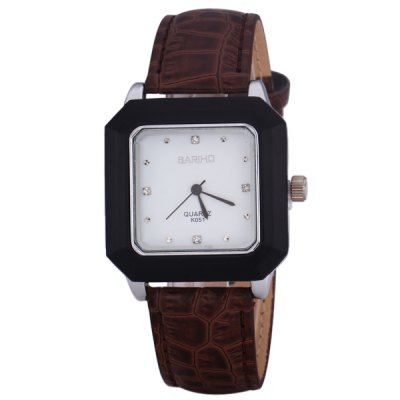 Bariho K051 Quartz Watch with Dots Indicate Rectangle Dial and Leather Watchband for Men