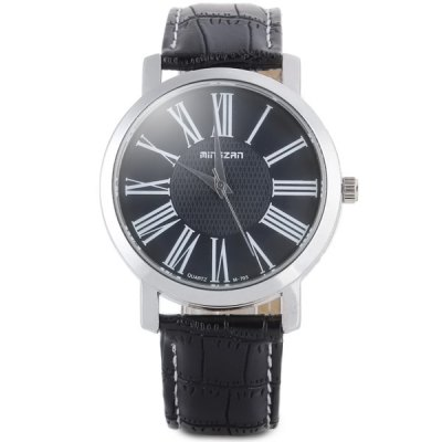 Гаджет   Mingzan m - 703 Quartz Watch Round Dial and Genuine Leather Watchband for Men Men