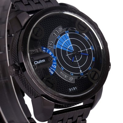 ФОТО Oulm 3131 Quartz Watch Two Time Zones and Stainless Steel Watch Band for Men