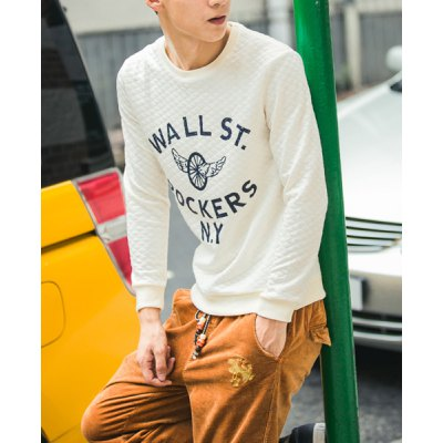 ФОТО Simple Style Round Neck Slimming Color Block Letters Print Long Sleeves Men
