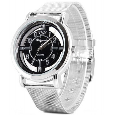 Chaoyada Quartz Watch with Arabic Numbers and Strips Indicate Steel Watch Band for Men