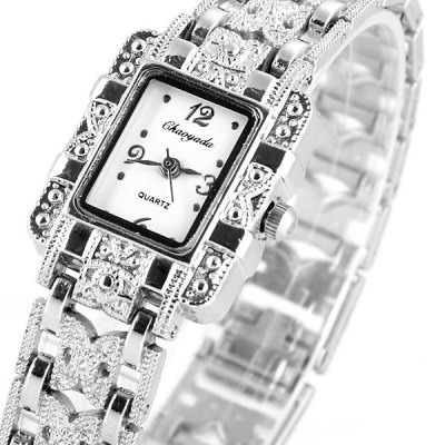 Chaoyada Fashional Ladys Quartz Chain Watch with Steel Watchband Rectangle Dial