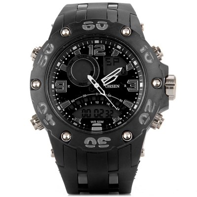 OHSEN AD2801 LED Quartz Digital Military Watch 3ATM Waterproof Double Movtz Date Week Watch for SportsSports Watches<br>OHSEN AD2801 LED Quartz Digital Military Watch 3ATM Waterproof Double Movtz Date Week Watch for Sports<br><br>People: Unisex table<br>Watch style: Outdoor Sports<br>Shape of the dial: Round<br>Movement type: Double-movtz<br>Display type: Double show<br>Case material: Stainless Steel<br>Band material: Rubber<br>Special features: Alarm clock, Date, Month, Second, 24 hours timer clock, EL Backlight<br>Battery type: 3V<br>The dial thickness: 1.5 cm / 0.6 inches<br>The dial diameter: 5.0 cm / 2.0 inches<br>The band width: 2.6 cm / 1.0 inches<br>Product weight: 0.084 kg<br>Package weight: 0.140 kg<br>Product size (L x W x H) : 25.0 x 5.0 x 5.0 cm / 9.8 x 2.0 x 2.0 inches<br>Package size (L x W x H): 29 x 8 x 5 cm<br>Package contents: 1 x Sports and LED Watch