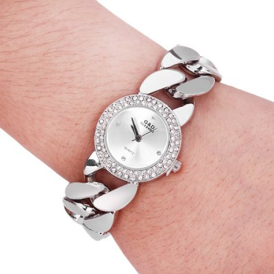 G&D M01486 Beautiful Female Pointer Quartz Watch with Stainless Steel Back and Round Dial Chain Watchband  -  Water Resistant