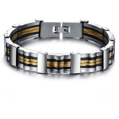Chic Colored Link Bracelet For MenMens Jewelry<br>Chic Colored Link Bracelet For Men<br><br>Item Type: Chain &amp; Link Bracelet<br>Gender: For Men<br>Chain Type: Link Chain<br>Metal Type: Titanium<br>Style: Trendy<br>Shape/Pattern: Others<br>Length: 21.5CM<br>Weight: 0.07KG<br>Package Contents: 1 x Bracelet
