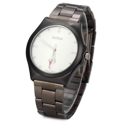 Astina 2004 High Quality Quartz Watch Strips Dots Indicate with Steel Watchband Round Dial