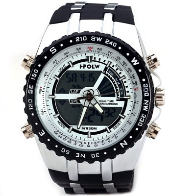 Гаджет   HPOLW 584 Male Fashion Watch Japan Dual Movtz with Light Alarm Round Dial Rubber Watchband Men